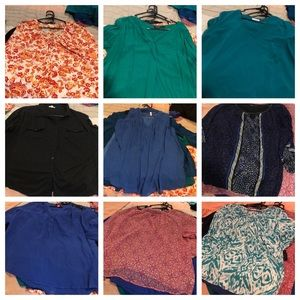 11 tunics in size 2xl/3xl.  They all fit an 18/20
